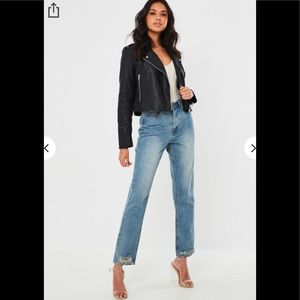 Faux Leather Biker Fitted Jacket